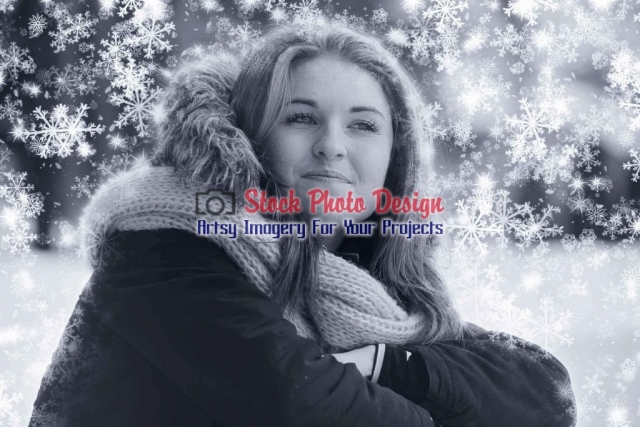 Pretty Woman with Snow Effect Image