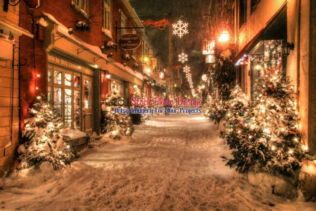 Old-Quebec-City-District-Alley-at-Night Image