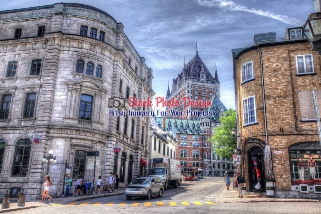 Quebec-City-Frontenac-Castle-and-Street Image