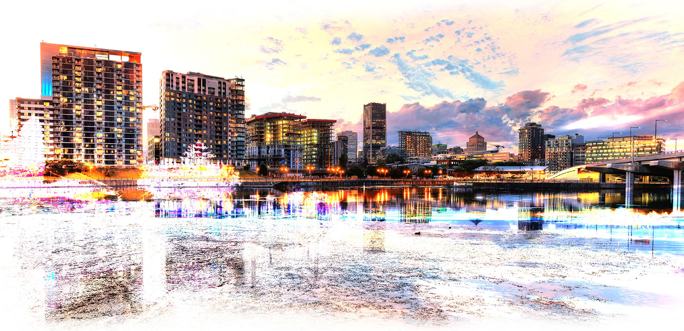 2020 Montreal Cityscape with Colorful Special Effect - Royalty-Free Stock Imagery