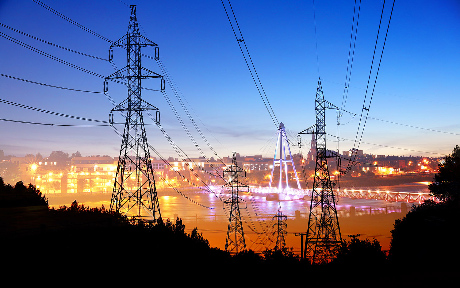 Small Town Electrification at Sunset - Royalty-Free Stock Imagery
