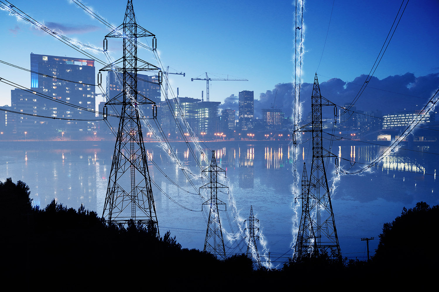 Urban Electrification Concept in Blue - Royalty-Free Stock Imagery