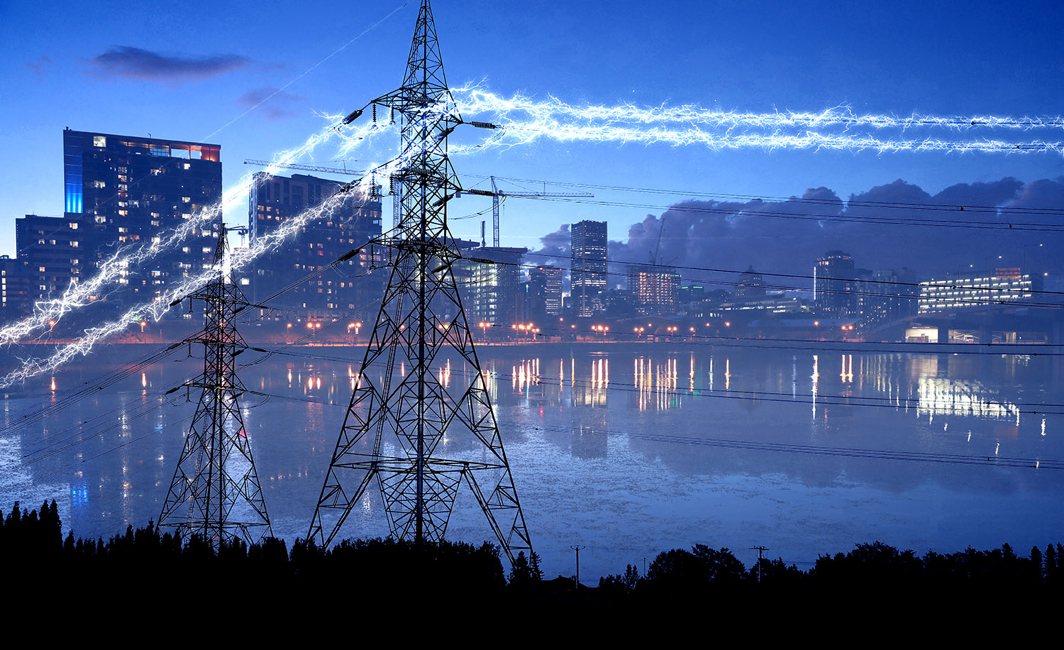 Urban Electrification in Blue - Royalty-Free Stock Imagery
