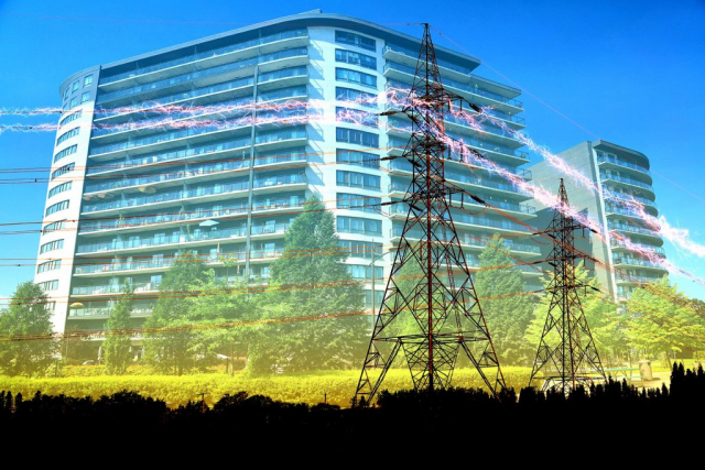 Urban Residential Building Electrification Concept - Royalty-Free Stock Imagery