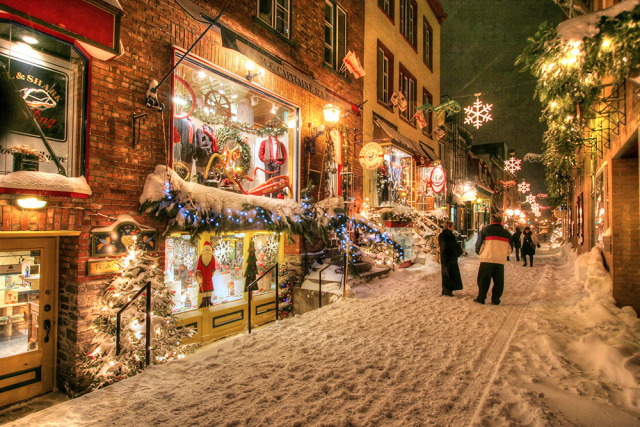 Old Quebec City District Alley at Xmas